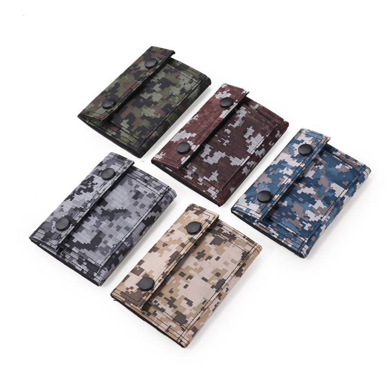 Tactics Men Canvas Clutch Wallet ID Bifold Camouflage Credit Card Holder Retro Coin Purse Card Pouch Mesh Change Pocket