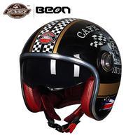 BEON Motorcycle Helmet Vintage Moto Helmet 3/4 Open Face Capacete Biker Motorbike Casco Retro Scooter Helmet Double Visor