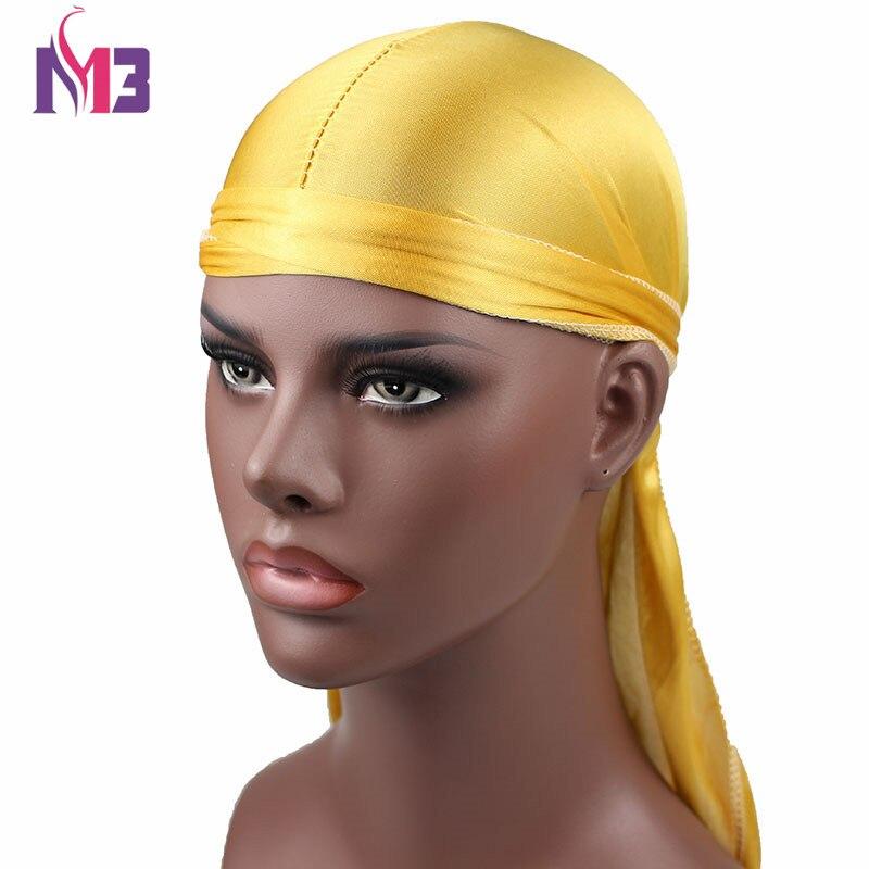 New Fashion Mens Satin Durags Bandanna Turban Wigs Men Silky Durag Headwear Headband Pirate Hat Hair Accessories