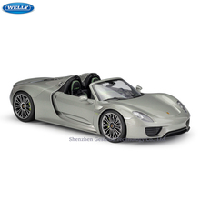WELLY 1:18 Porsche 918 Spyder sports car  Alloy Retro Car Model Classic Decoration Collection gift