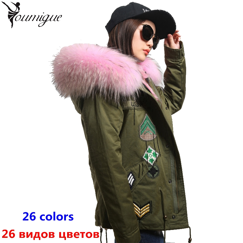 YOUMIGUE Women winter parka military large raccoon fur collar hooded coat outwear real fox fur lining winter jacket brand bomber women large collar army camouflage fox fur liner hooded coat outwear real fox fur lining jacket woman brand dhl free shipping