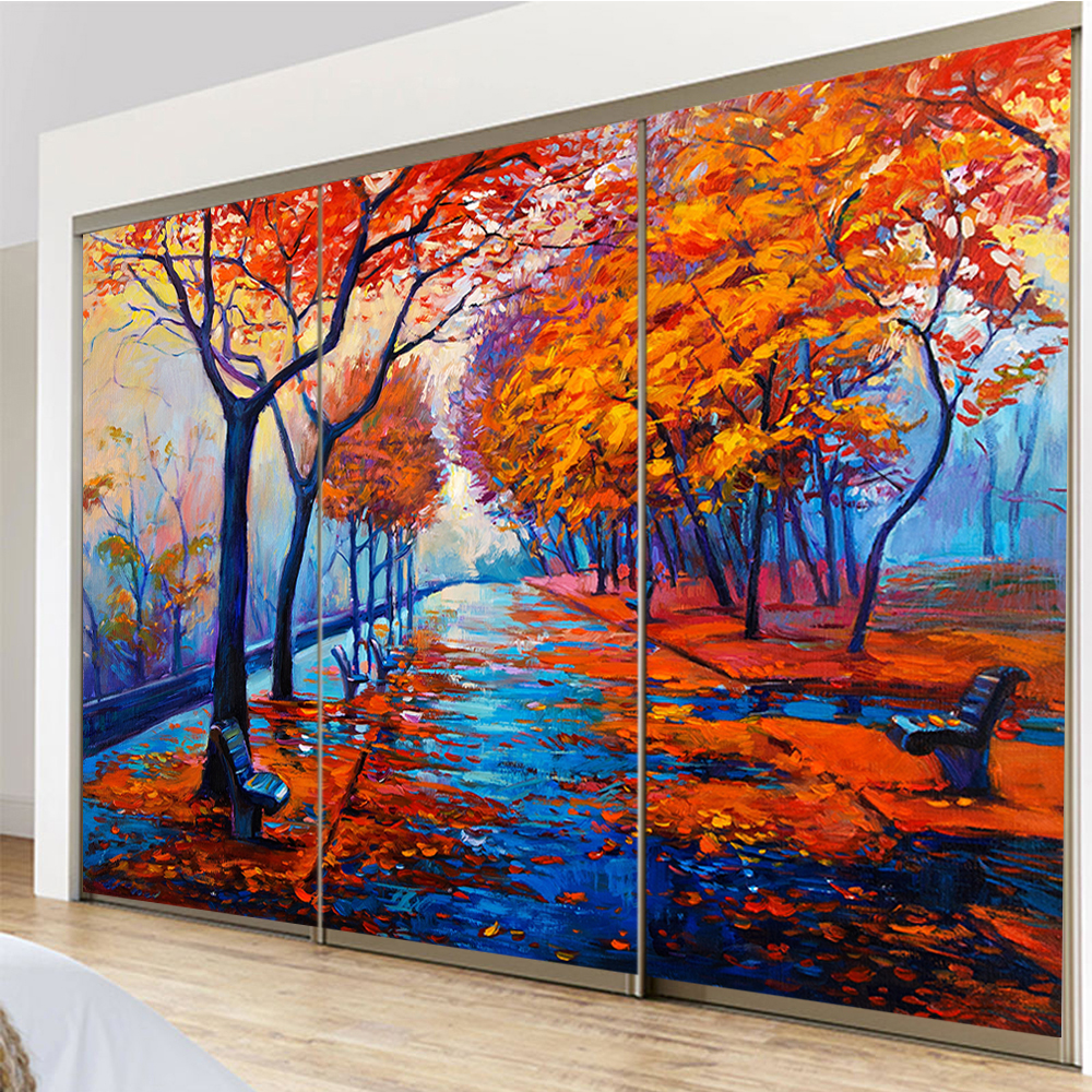 yazi Customized Size Leaves Falling Road TV Background Bedroom Wallpaper Wall Sticker Window Door Glass Film