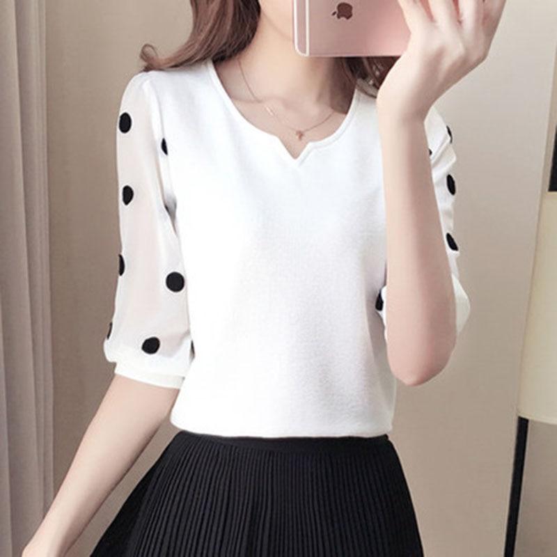 Women Spring Summer Style Chiffon Blouses Shirts Mesh Patchwork Casual Half Sleeve Polka Dot Print O-Neck Blusas Tops DD1478