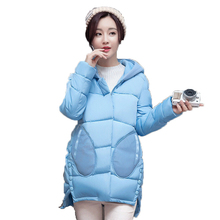 2016 New Fashion Woman Winter Jackets Hooded Large Size Cotton Coat Thick Warm Down cotton coat Cloak Irregular Loose Coat M-2XL