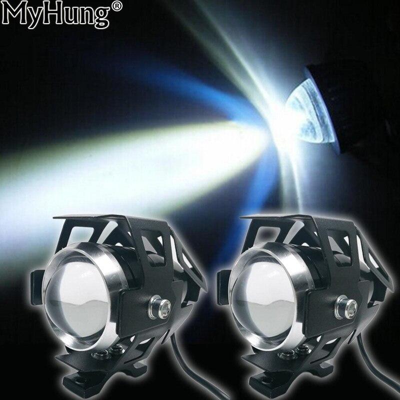 2шт мотоцикла LED фара 2000lm U5 Водонепроницаемый вождения головы пятно Лампа туман света переключатель Мото аксессуары 12В 6000К