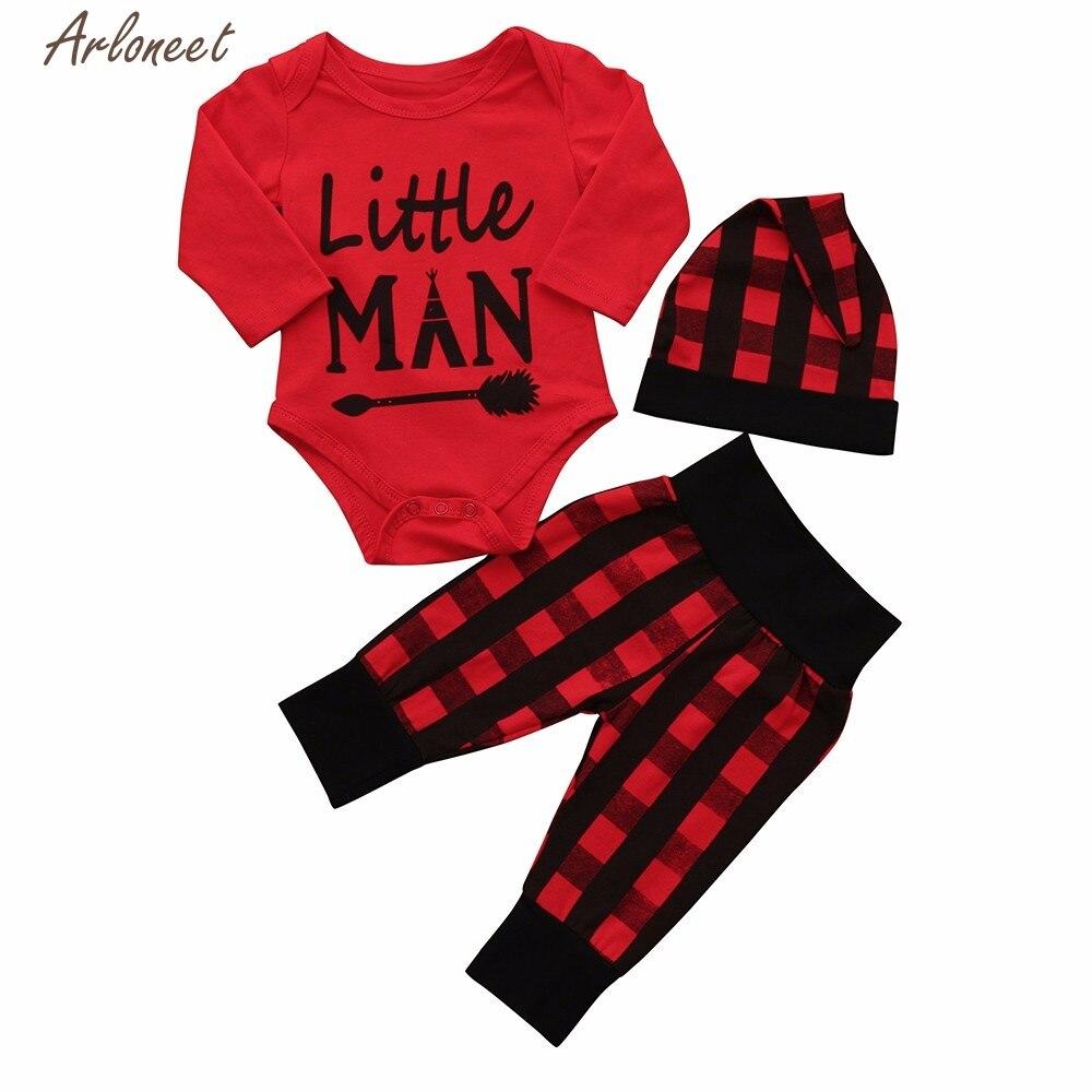 TELOTUNY Children Clothing 3Pcs Newborn Infant Baby Boy Letter Romper Tops+Pants Cap Lat ...