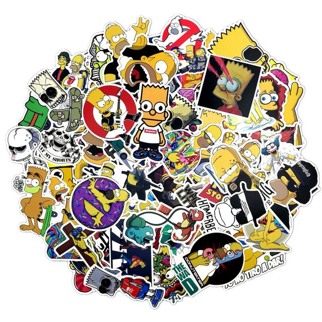 100pcs simpson stickers for laptop motorcycle car styling luggage skateboard bike accessories vinyl decals waterproof sticker