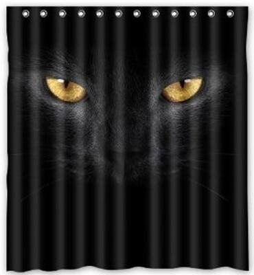 Custom Scary Black Cat Eyes Halloween Shower Curtain 60 X 72