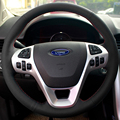 Steering Wheel Leather Cover Case for Ford EDGE FORD EXPLORER Genuine Leather DIY Car Styling Black Leather