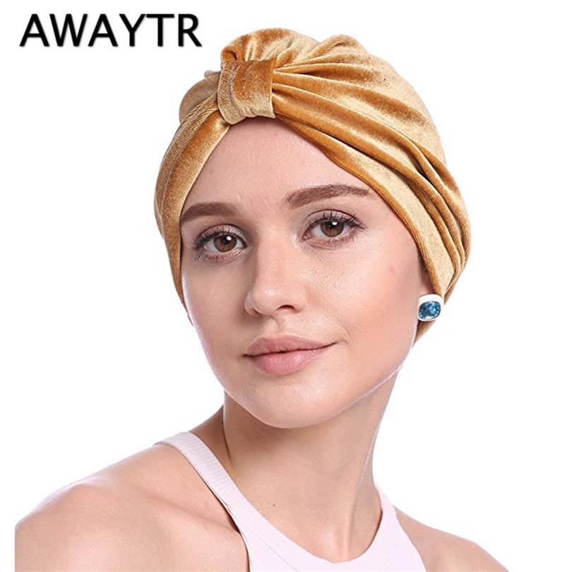 AWAYTR 7 Colors Women Headbands Elegant Indian Headwear Bow Bandanas Autumn Velvet Turbans Luxury Headwrap Hair Loss Lady