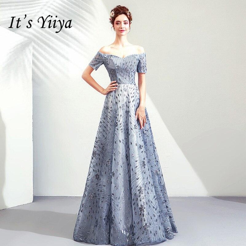 C'est YiiYa robes de bal bleu bateau cou manches courtes a-ligne étage longueur longue robe de soirée personnalisé grande taille robes de bal 2019 E264