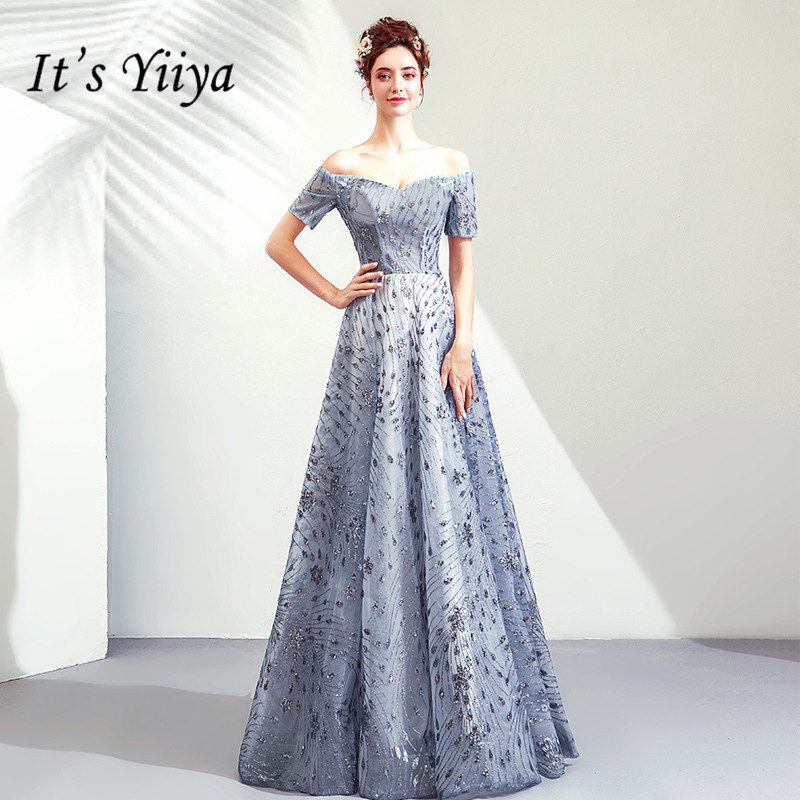 It's YiiYa Prom Gowns Blue Boat Neck Short Sleeves A-Line Floor Length Long Party Dress Custom Plus Size Prom Dresses 2019 E264