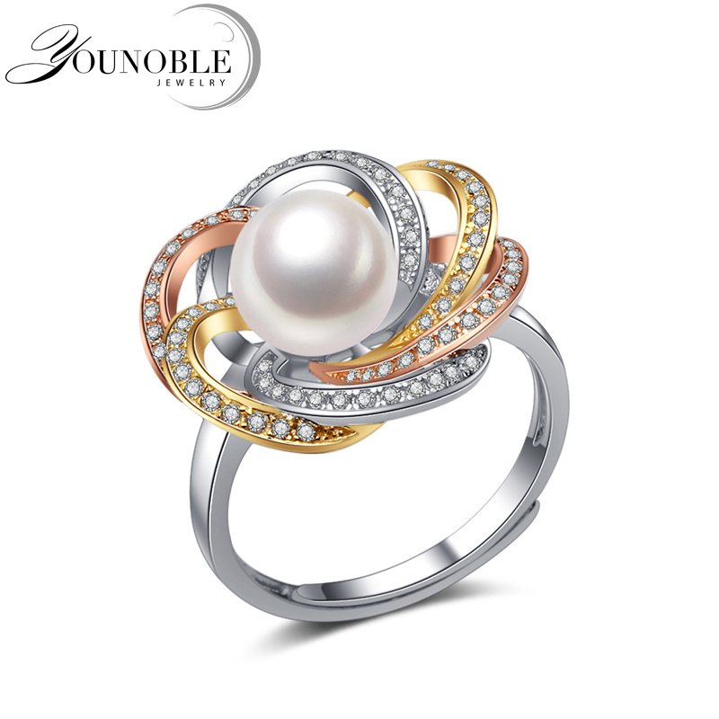 Real 925 silver ring women,exquisite natural freshwater round pearl ring birthday giftReal 925 silver ring women,exquisite natural freshwater round pearl ring birthday gift