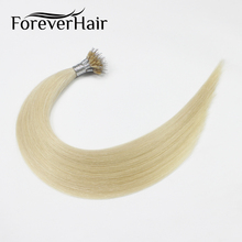 """Волос навсегда 0.8 г/локон 18 """"Реми nano кольцо человеческих Наращивание волос платиновый блондин № 60 Micro Бусины и бисер Европейский Человеческие волосы для белый Для женщин"""