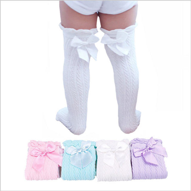 8529b169c Cute Toddler Kids Baby Girl Knee High Long Lace Bow Cotton Warm Stockings  Blue Pink Purple White -in Tights & Stockings from Mother & Kids on  Aliexpress.com ...