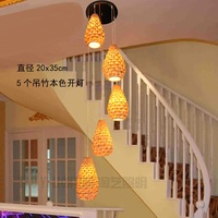 Stair pendant lamp bamboo woven bamboo lamp pineapple dessert restaurant chandelier, durian bamboo lamp ZA zb17