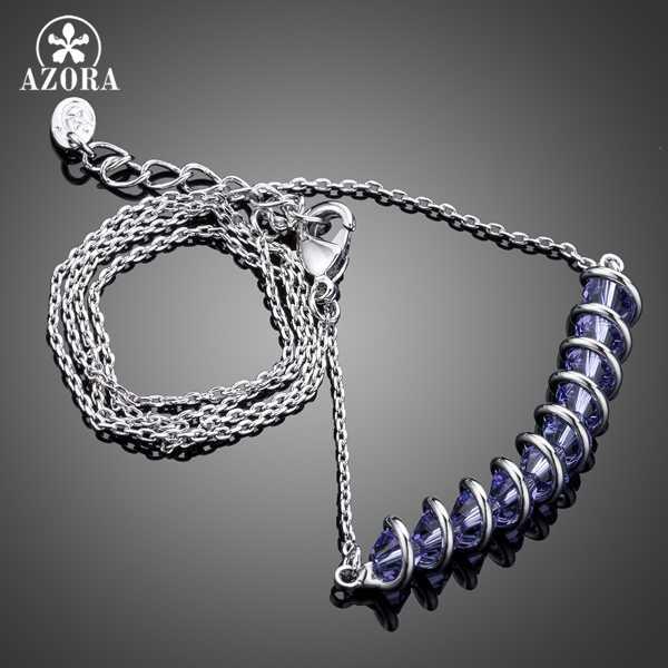 AZORA Fashion Design z 10 sztuk fioletowy Stellux naszyjnik wisior z kryształem austriackim TN0159