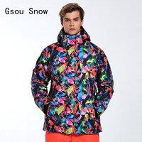 2017 Man Ski Jacket Gsou Snow Brand Windproof Waterproof Outdoor Sport Wear Thicken Thermal Skiing Snowboard