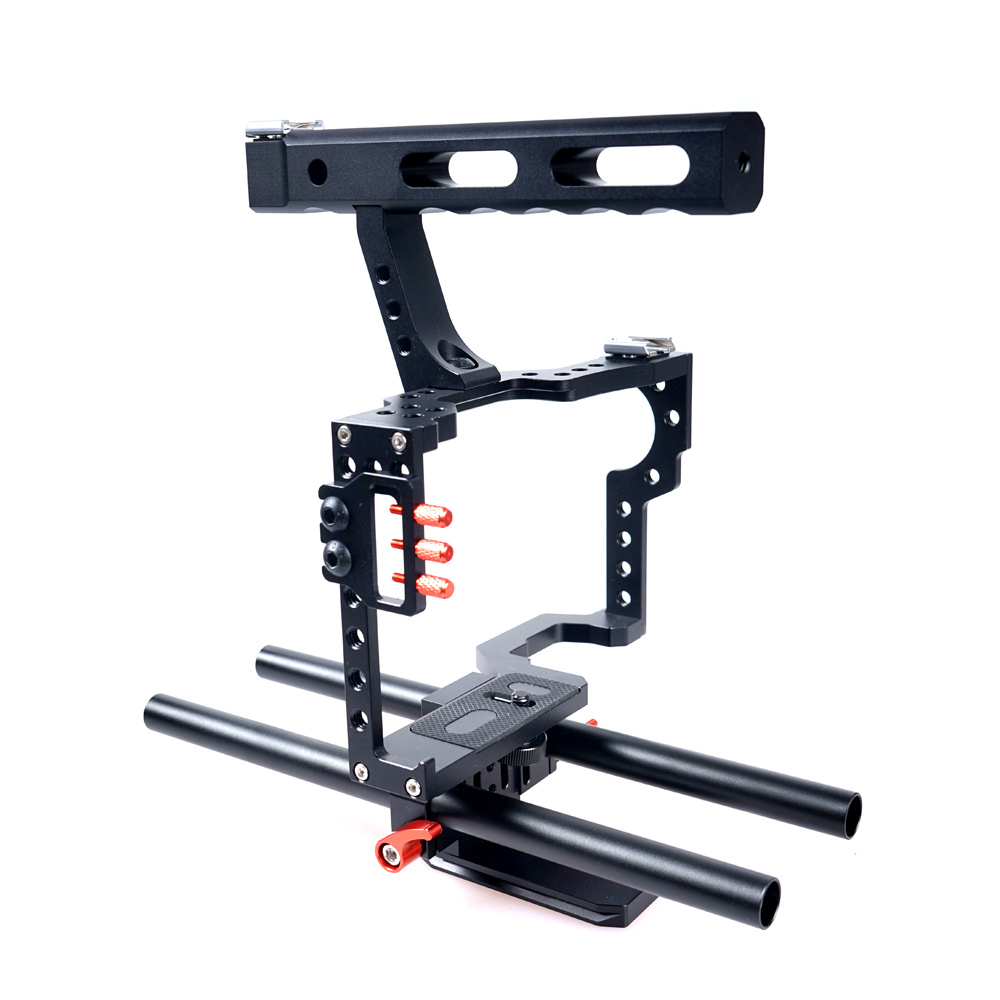 Aluminum Alloy Portable Camera Video Cage Kit DSLR Stabilizer With 15mm Rod Rig for Sony A7 II A7r A7s A6300 A6000 Panasonic GH4 15mm rod rig dslr camera video cage kit stabilizer top handle grip for sony a7 ii a7r a7s a6300 a6000 panasonic gh4 gh3