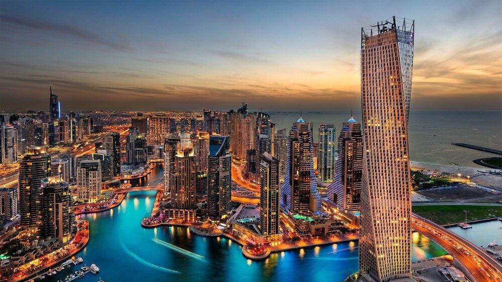 DIY Вышивка с кристаллами алмазов Вышивка Дубай, harbour, ночь, отель, Дубай ночной вид Домашний Декор Стразы ...