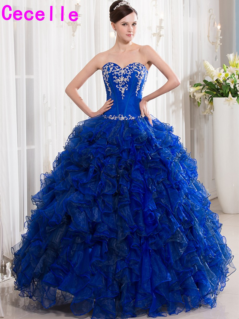 2017 Royal Blue Ball Gown Quinceanera Dresses Sweetheart ...  2017 Royal Blue...