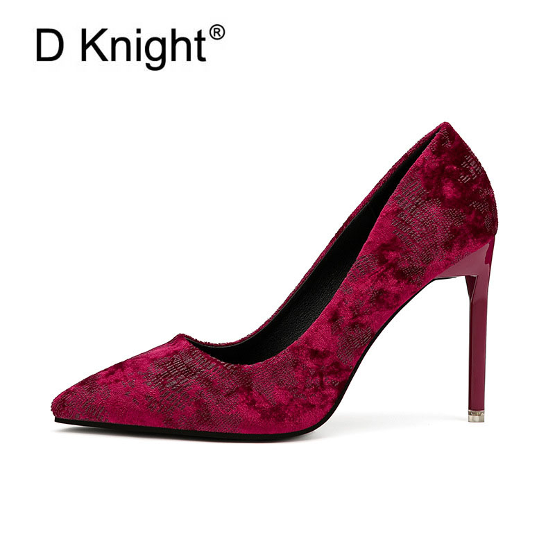 все цены на New Women's Evening Party Shoes Sexy Pointed Toe Thin High Heels Women Shoes Vintage Flock Ladies Stilettos Elegant Women Pumps онлайн