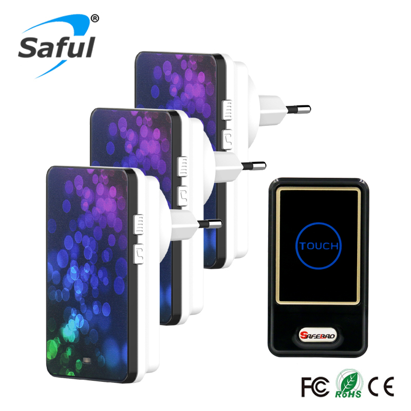 Saful Wireless Tough Switch Door Bell Waterproof EU Plug1 Ourdoor Transmitter + 3 Indoor Receiver for Home-using Free Shipping new restaurant equipment wireless buzzer calling system 25pcs table bell with 4 waiter pager receiver