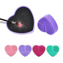 Heart-Shaped Sponge Makeup Brush Cleaner Sponge Remover Color Sponge Cleaner Quick Wash Color Off Brush Tool Brushes Clean Box color off makeup brush cleaner sponge remover aluminum make up brushes cleaning mat box powder brush washing scrubber clean kit