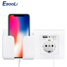 Esooli Wall Socket Phone Holder Smartphone Accessories Stand Support For Mobile Phone Apple Samsung Huawei Phone Holder
