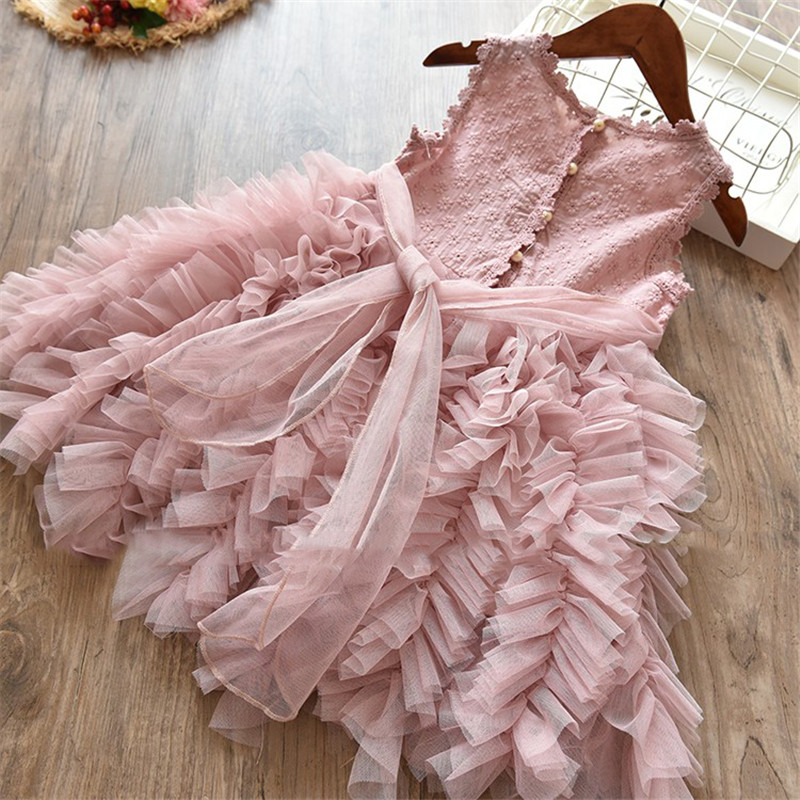 Flower     Girl     Dress   Lace Button   Dresses   Kid Wedding Birthday Clothes Teenager Children Clothing 2018 Summer Vestidos Infantil 8T