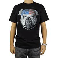Yurtsever Amerikan Bulldog T-Shirt Siyah Bayrak Bandana Burun Halka Yaka Zincir Yeni T Shirt Unisex Komik Tops Tee