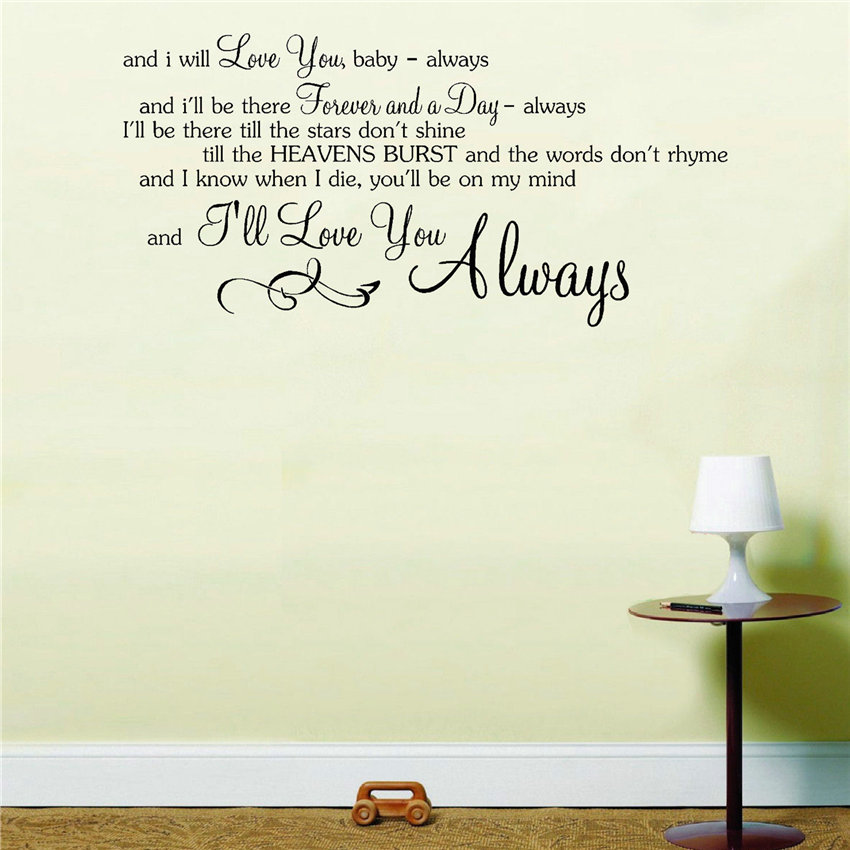 Bon Jovi Always Song Music Lyrics Notes Love Quote Sticker Wall Art Sticker Home Decor Rooms Removable Mural Decoration B698 image