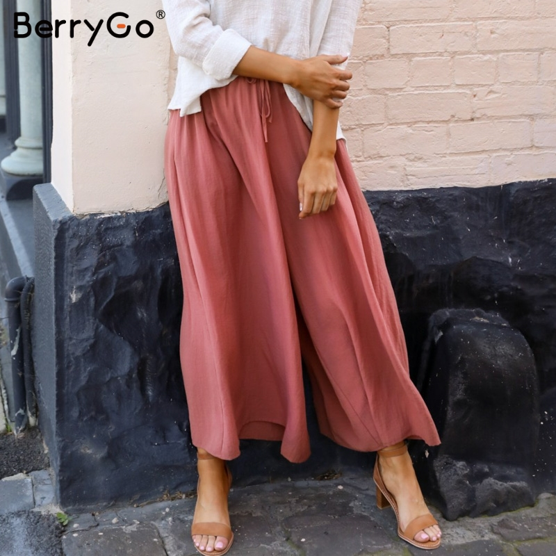 BerryGo Elastic high waist   wide     leg     pants   women Solid lace up trousers streetwear   pants   Female pockets plus size summer   pants