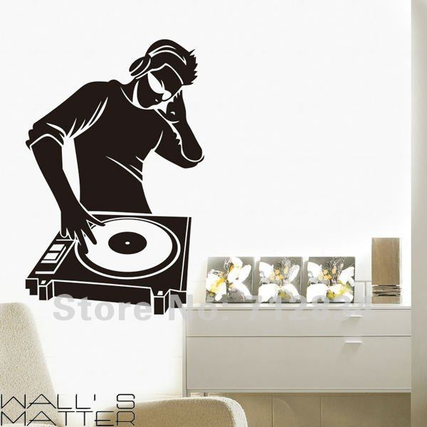 [B.Z.D] Free Shipping DJ Music Art Decals Removable Home Decor Vinyl Wall Stickers 60 x 93cm