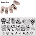 Nail Art Stamping Template Skull and Spider Web Series Rectangle 12*6cm Manicure Nail Art Image Plate Mezerdoo32