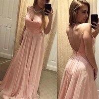 Light Pink Chiffon Dresses Bridesmaid A Line Backless Spaghetti Strap Long Wedding Guest Dress Cheap Women Party Gowns 2019