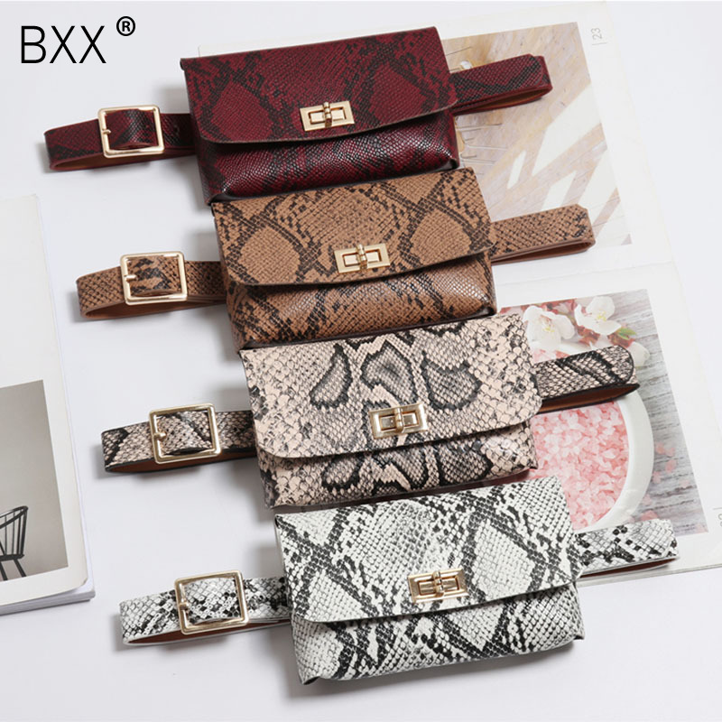 [BXX] 2020 Fashion Women's Serpentine Waist Bag Women PU Leather Waist Pack Vintage Waist Waist Belt Bags Phone Pocket HG450