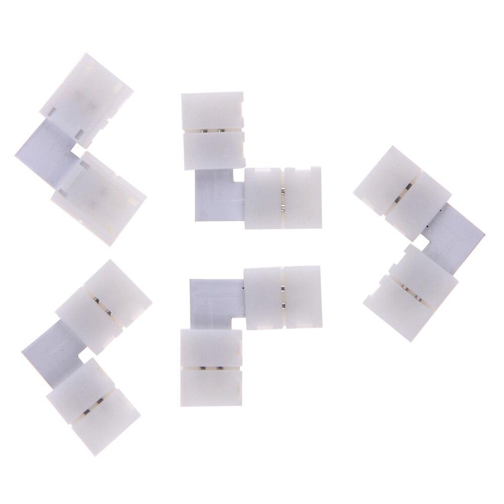 10Pcs <font><b>LED</b></font> Flexible Strip Connector <font><b>2pin</b></font> 8mm L Shape with Solder Free Connector No Need Soldering