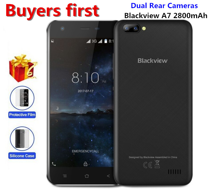 "Original Blackview A7 Dual Rear Cameras Mobile Phone 5.0"" MT6580A Quad Core Android 7.0 1GB RAM 8GB ROM 5MP WCDMA GPS Smartphone"