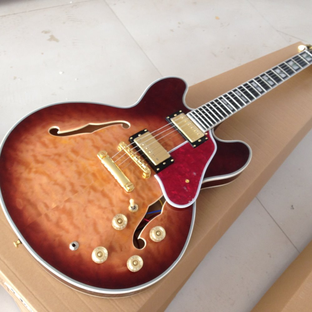 New style Free Shipping ES 335 50th Anniversary 1963 ES-335 semi hollow body electric guitar qulited maple top ,gold hardware