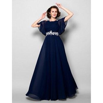 abce84494 2018 vestidos para la madre de la novia de gasa azul marino pliegues  Darping Plus tamaño apliques correas de la cintura y largo Formal de la boda  la cena