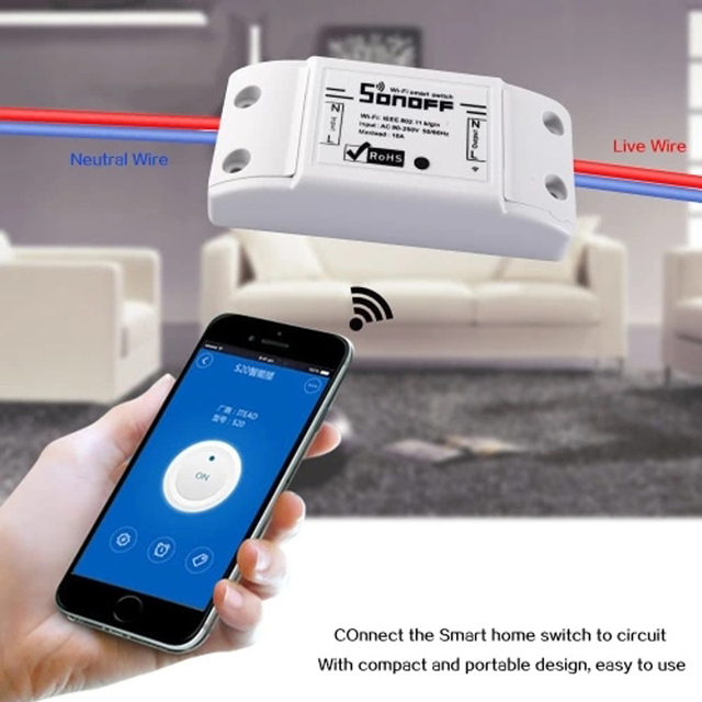 US $12 19 20% OFF|SONOFF Basic Wireless Wifi Switch Remote Control  Automation Module DIY Timer Universal Smart Home 10A 220V AC 90 250V-in  Home