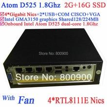 Lowest price mini server pc Intel Atom D525 4 Gigabit RJ45 Firewall motherboard 4 way input and output GPIO 2G RAM 16G SSD