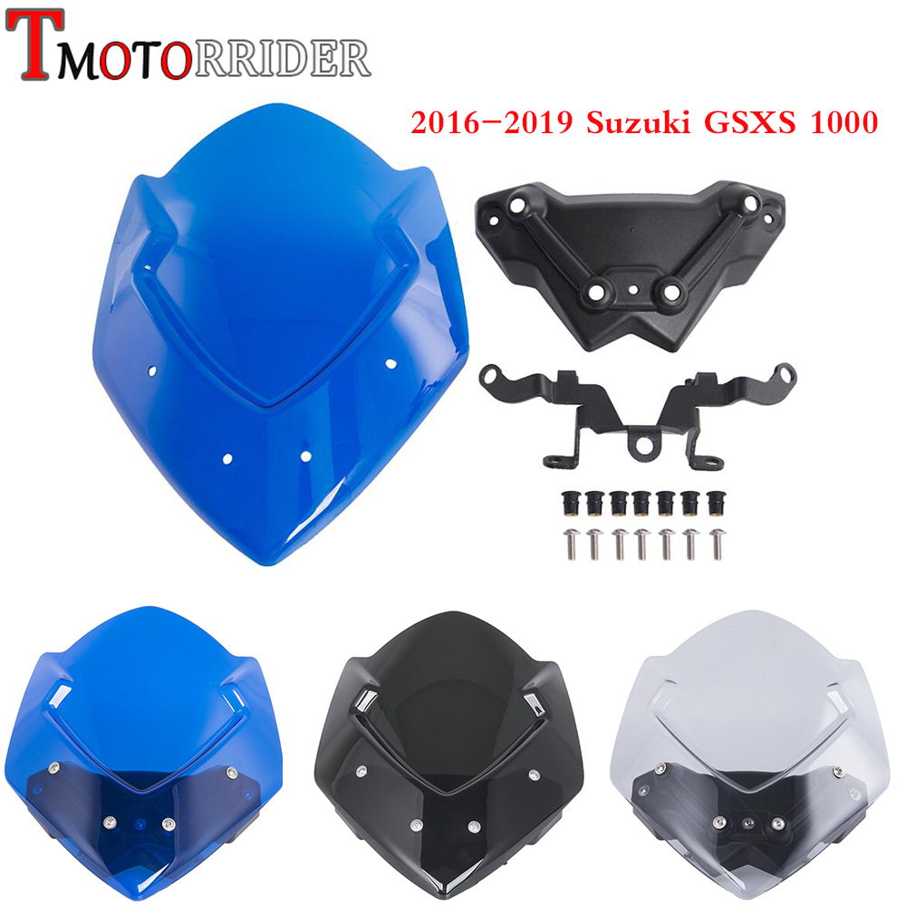 GSXS1000 Sport Windshield Windscreen Shield Screen Protector with Mounting Bracket for2016 2019 Suzuki GSXS GSX S
