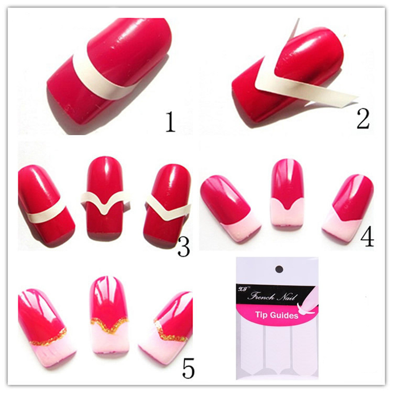 1 Lot 10 Packs Chic Diy 3 Styles French Manicure Nail Art Tips Tape Sticker Guide Stencil In Stickers Decals From Beauty Health On Aliexpress