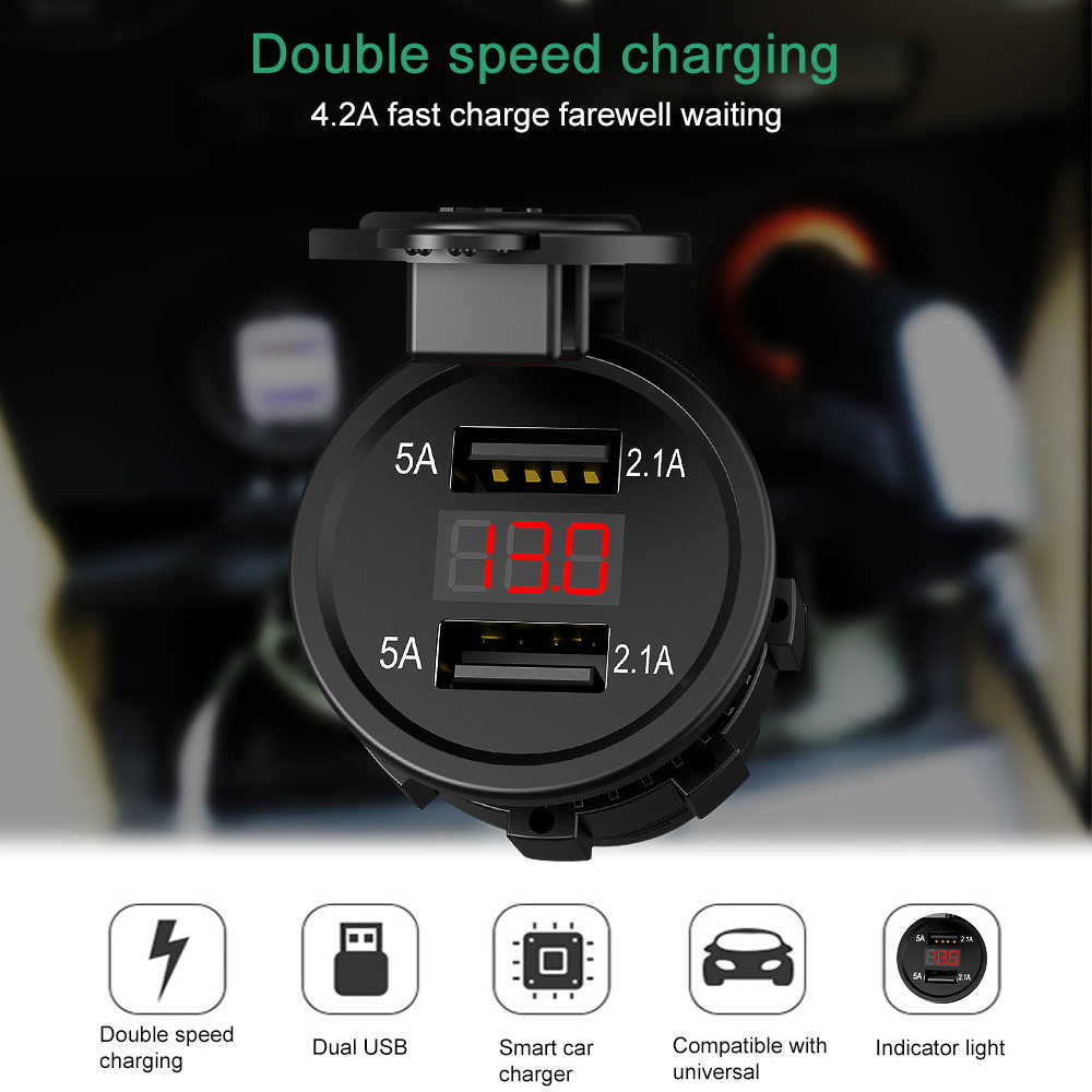 12V-24V Dual USB Ports Motorcycle Cigarette Lighter Socket Charger With LED Digital Voltmeter Meter Monitor Car Charger