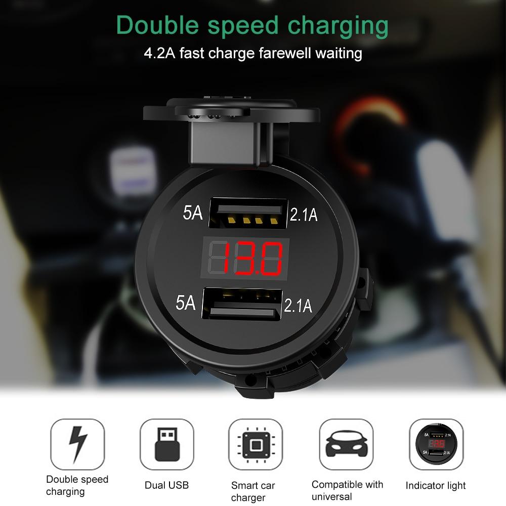 12V-24V Dual USB Ports Motorcycle Cigarette Lighter Socket Charger With LED Digital Voltmeter Meter Monitor Car Charger