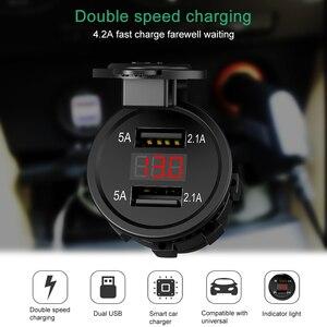 12V-24V Dual USB Ports Motorcycle Cigarette Lighter Socket Charger with LED Digital Voltmeter Meter Monitor Car Charger(China)
