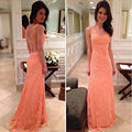 New Fashion Sleeveless Straight Beautiful V Neck Lace Long Prom Dresses 2016 Backless Appliques Floor Length Prom Dress SML61201