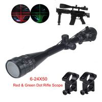 Tactical 6 24x50 AOE Green Red Dot Riflescope Military Hunting Gear Airsoft Air Guns Rifle scope Fit For 11mm Or 20mm Rail